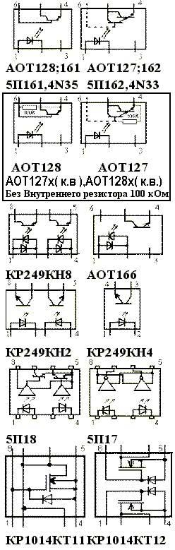 Оптроны АОТ128 - КР1014КТ12: цоколевки
