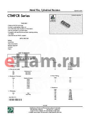 CTMFCR0207JTBV0100 datasheet - Metal Film, Cylindrical Resistors