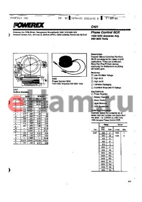 C451S2 datasheet - Phase Control SCR 1400-1500 Amperes Avg 500-1800 Volts