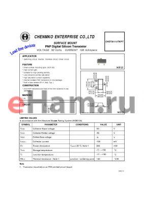 CHDTA113TKPT datasheet - PNP Digital Silicon Transistor