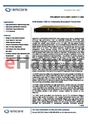 DEMT2101-TC-2 datasheet - 1550 nm Externally Modulated Transmitter