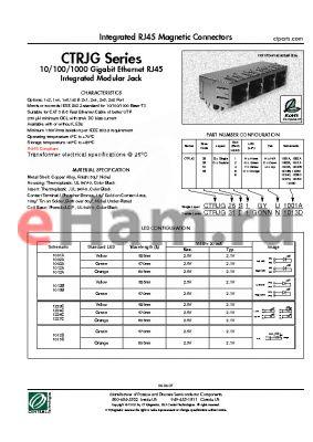 CTRJG31S1GN1003A datasheet - Integrated RJ45 Magnetic Connectors