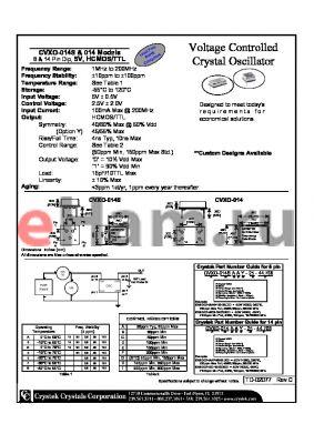 CVXO-014SAEY-25-44.768 datasheet - Voltage Controlled Crystal Oscillator 8 & 14 Pin Dip, 5V, HCMOS/TTL