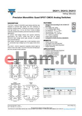 DG411DJ datasheet - Precision Monolithic Quad SPST CMOS Analog Switches