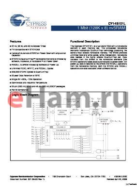 CY14B101LL-SP25XC datasheet - 1 Mbit (128K x 8) nvSRAM