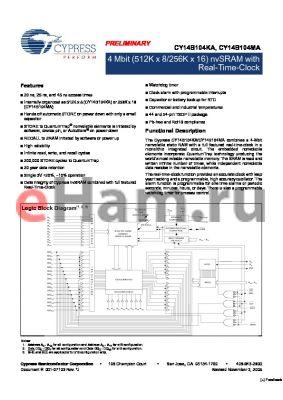 CY14B104KA-ZSP25XIT datasheet - 4 Mbit (512K x 8/256K x 16) nvSRAM with Real-Time-Clock