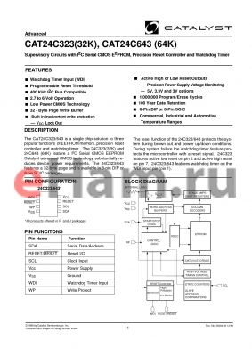 CAT24C323PA-42TE13 datasheet - Supervisory Circuits with I2C Serial CMOS E2PROM, Precision Reset Controller and Watchdog Timer