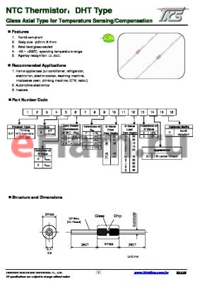DHT0B20433952 datasheet - Glass Axial Type for Temperature Sensing/Compensation