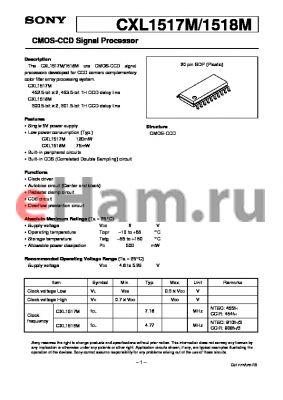 CXL1517 datasheet - CMOS-CCD Signal Processor