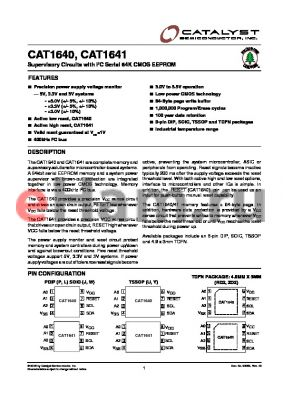 CAT1640LI-42TDFN datasheet - Supervisory Circuits with I2C Serial 64K CMOS EEPROM