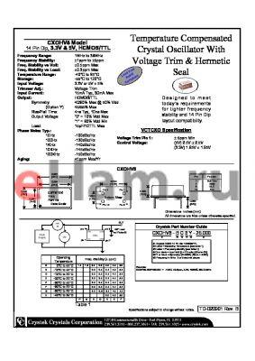 CXOHV8-CA-25.000 datasheet - Temperature Compensated Crystal Oscillator With Voltage Trim & Hermetic 14 Pin Dip, 3.3V & 5V, HCMOS/TTL