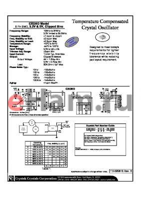 CXOSD-DC3-25.000 datasheet - Temperature Compensated Crystal Oscillator 6 Pin SMD, 3.3V & 5V, Clipped Sine