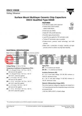 03028-BXXXXBCM datasheet - Surface Mount Multilayer Ceramic Chip Capacitors DSCC Qualified Type 03028