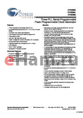 CY22395FC datasheet - Three-PLL Serial-Programmable Flash-Programmable Clock Generator