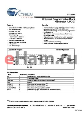 CY22800-117A datasheet - Universal Programmable Clock Generator (UPCG)