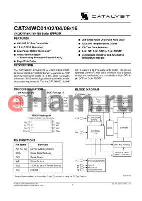 CAT24WC16ZI-1.8TE13F datasheet - 1K/2K/4K/8K/16K-Bit Serial E2PROM