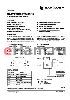 CAT24WC17JI datasheet - 2K/4K/8K/16K-Bit Serial E2PROM