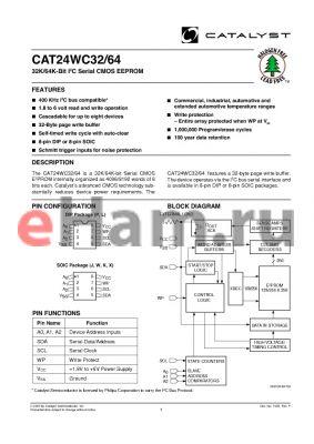 CAT24WC32WETE13B datasheet - 32K/64K-Bit I2C Serial CMOS E2PROM