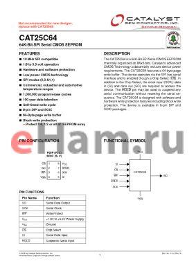 CAT25C64V-1.8-GT3 datasheet - 64K-Bit SPI Serial CMOS EEPROM