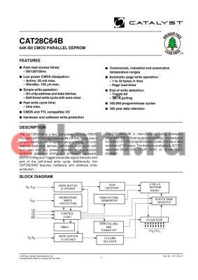 CAT28C64BH13-90T datasheet - 64K-Bit CMOS PARALLEL EEPROM