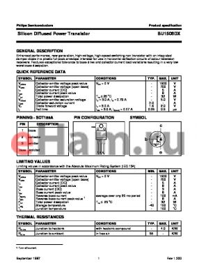 BU1506 datasheet - Silicon Diffused Power Transistor