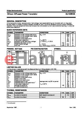 BU1506DX datasheet - Silicon Diffused Power Transistor