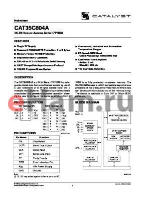 CAT35C804APATE13 datasheet - 4K-Bit Secure Access Serial E2PROM