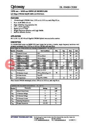 DL-5340S-C270-HXS datasheet - 1270 nm ~ 1610 nm DFB LD MODULES 2.5 Gbps CWDM MQW-DFB LD PIGTAIL