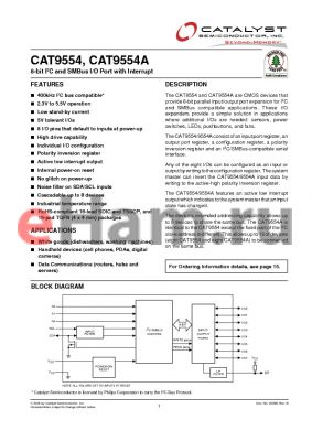 CAT9954AYI-T2 datasheet - 8-bit I2C and SMBus I/O Port with Interrupt