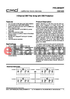 CM1425-01CS datasheet - 4 Channel EMI Filter Array with ESD Protection