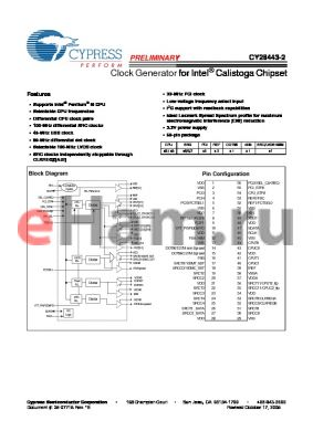 CY28443OXC-2T datasheet - Clock Generator for Intel^ Calistoga Chipset