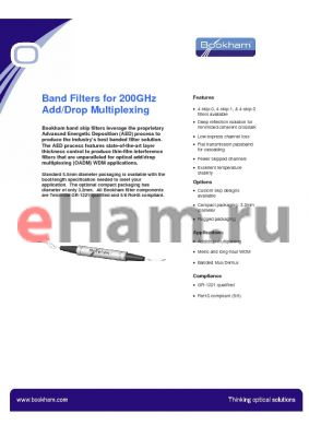 CBWHLU2215533290653 datasheet - Band Filters for 200GHz Add/Drop Multiplexing