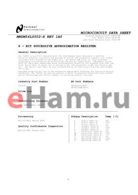 DM54LS502J/883 datasheet - 8 - BIT SUCCESSIVE APPROXIMATION REGISTER
