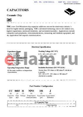CC0603CX5R110J datasheet - CAPACITORS