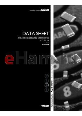CC0805KK9 datasheet - MULTILAYER CERAMIC CAPACITORS