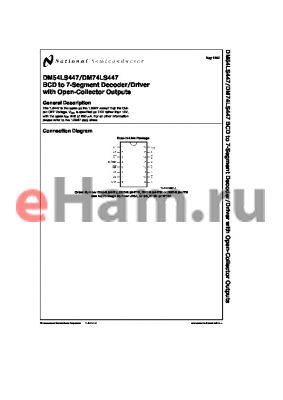DM74LS447 datasheet - BCD to 7-Segment Decoder/Driver with Open-Collector Outputs
