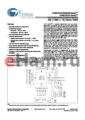 CY62137CV30LL-55BVXI datasheet - 2M (128K x 16) Static RAM