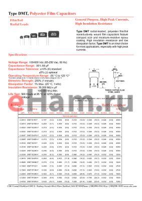 DMT2D47K-F datasheet - Polyester Film Capacitors General Purpose, High Peak Currents, High Insulation Resistance