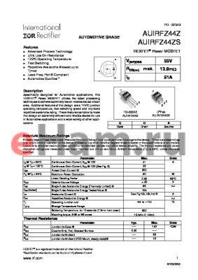 AUIRFZ44ZSTRL datasheet - HEXFET^ Power MOSFET
