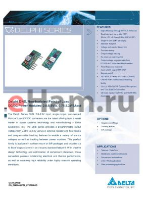 DNS04S0A0R06PFD datasheet - Delphi DNS, Non-Isolated Point of Load DC/DC Power Modules: 2.8-5.5Vin, 0.75-3.3V/6Aout