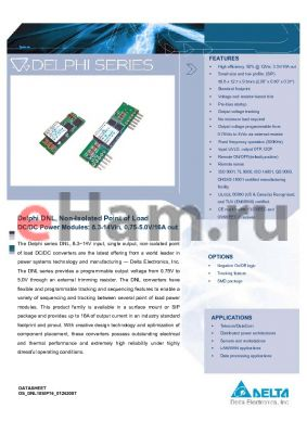 DNS04S0A0R06PFD datasheet - Delphi DNL, Non-Isolated Point of Load DC/DC Power Modules: 8.3-14Vin, 0.75-5.0V/16A out