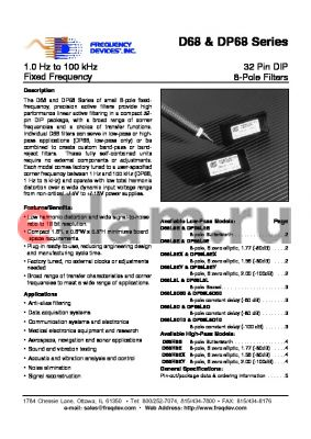 DP68H8B datasheet - 32 Pin DIP 8-Pole Filters
