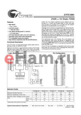 CY7C1041L-17ZC datasheet - 256K x 16 Static RAM
