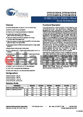 CY7C1319CV18-300BZXI datasheet - 18-Mbit DDR-II SRAM 4-Word Burst Architecture
