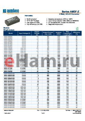 AM3F-0512SZ datasheet - 3 Watt   DC-DC Converter