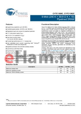 CY7C1360C-200BGC datasheet - 9-Mbit (256 K ‡ 36/512 K ‡ 18) Pipelined SRAM