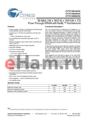 CY7C1465AV33-133BGC datasheet - 36-Mbit (1M x 36/2 M x 18/512K x 72) Flow-Through SRAM with NoBL Architecture