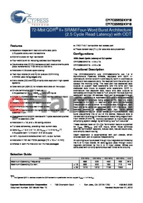 CY7C25652KV18-500BZXI datasheet - 72-Mbit QDR^ II SRAM Four-Word Burst Architecture (2.5 Cycle Read Latency) with ODT