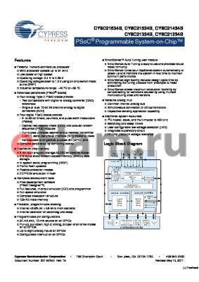 CY8C21X45 datasheet - PSoC Programmable System-on-Chip Low power at high speed
