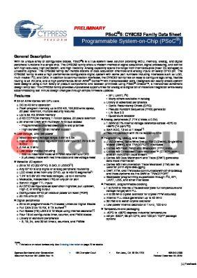 CY8C5248PVI-101 datasheet - Programmable System-on-Chip (PSoC)